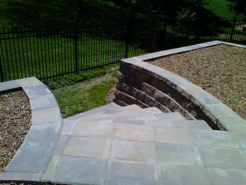 Outdoor Curved Stone Staircase Retaining Wall